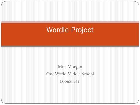 Mrs. Morgan One World Middle School Bronx, NY Wordle Project.