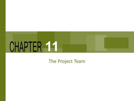 The Project Team 11. Chapter Concepts How teams are acquired and assigned The development and growth of teams The project kickoff meeting Characteristics.