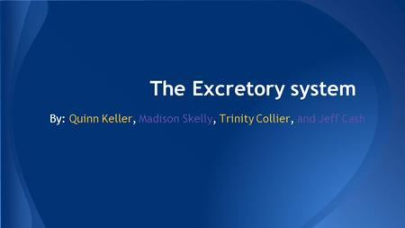 The Excretory system By: Quinn Keller, Madison Skelly, Trinity Collier, and Jeff Cash.