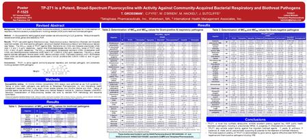 Methods Revised Abstract Methods Results TP-271 is a Potent, Broad-Spectrum Fluorocycline with Activity Against Community-Acquired Bacterial Respiratory.