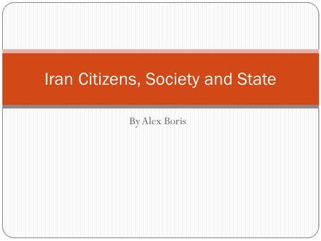 Iran Citizens, Society and State