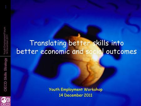 OECD Skills Strategy Youth Employment Forum 14 December 2011 Translating better skills into better economic and social outcomes Youth Employment Workshop.