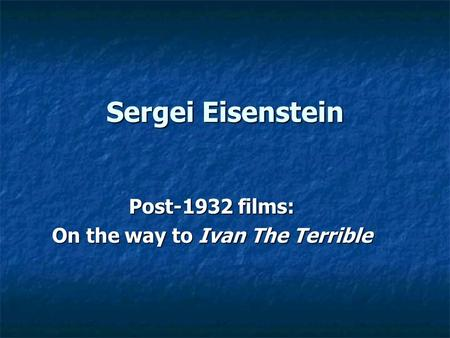 eisenstein essay montage An example of intellectual montage from the battleship potemkin, eisenstein cuts from the shot essay 2 tonal montage depends on.