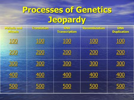 Processes of Genetics Jeopardy Meiosis and Mitosis Translation RNA Transcription Recombination DNA Duplication 100 200 300 400 500.