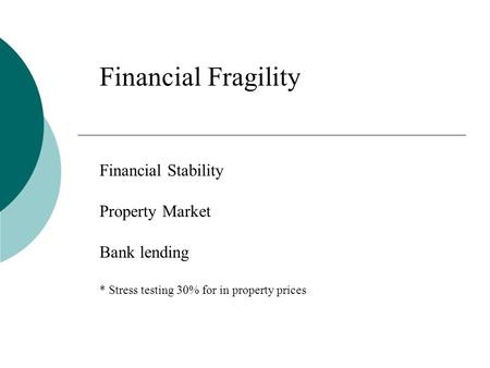 Financial Fragility Financial Stability Property Market <strong>Bank</strong> <strong>lending</strong> * Stress testing 30% for in property prices.