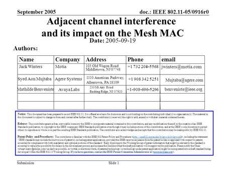 Doc.: IEEE 802.11-05/0916r0 Submission September 2005 Slide 1 Adjacent channel interference and its impact on the Mesh MAC Date: 2005-09-19 Authors: Notice: