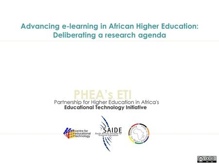 Advancing e-learning in African Higher Education: Deliberating a research agenda.