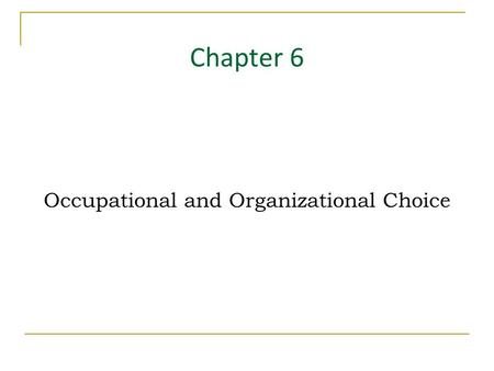Occupational and Organizational Choice