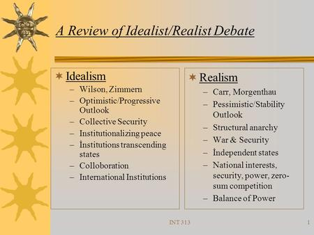 A Review of Idealist/Realist Debate
