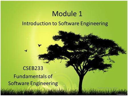 Module 1 Introduction to Software Engineering Badariah Solemon 2010 CSEB233 Fundamentals of Software Engineering.