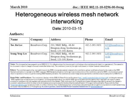 Doc.: IEEE 802.11-10-0296-00-0wng Submission March 2010 Broadwave Corp.Slide 1 Notice: This document has been prepared to assist IEEE 802.11. It is offered.