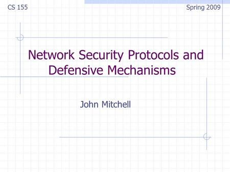 Network Security Protocols and Defensive Mechanisms John Mitchell CS 155 Spring 2009.