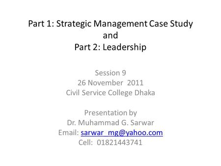 Practical Case Studies in Management and Leadership, Part II