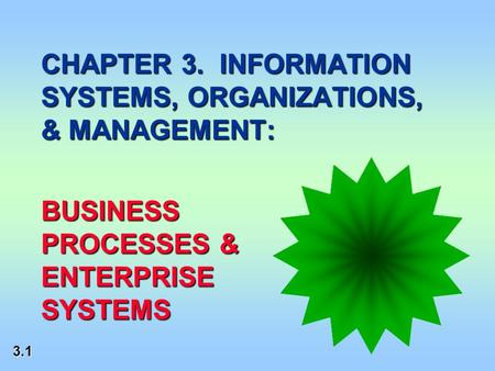 3.1 CHAPTER 3. INFORMATION SYSTEMS, ORGANIZATIONS, & MANAGEMENT: BUSINESS PROCESSES & ENTERPRISE SYSTEMS.