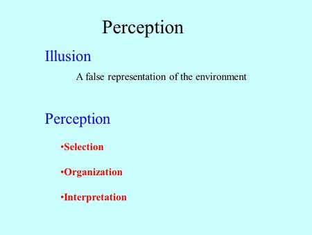 Perception Illusion A false representation of the environment