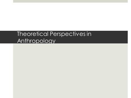 Theoretical Perspectives in Anthropology. Social & Cultural Organization Themes  Themes should emphasize patterns and processes of change in society.