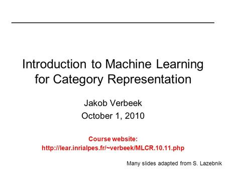 Introduction to Machine Learning for Category Representation