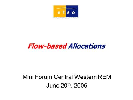 Flow-based Allocations Mini Forum Central Western REM June 20 th, 2006.