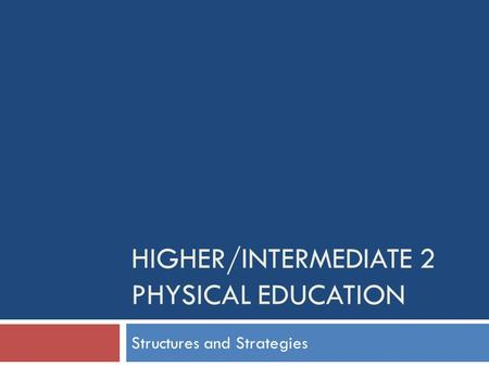 HIGHER/INTERMEDIATE 2 PHYSICAL EDUCATION Structures and Strategies.