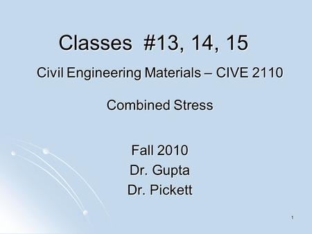 Civil Engineering Materials – CIVE 2110