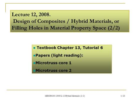 MECH4301 2008 L 12 Hybrid Materials (2/2) 1/25 Lecture 12, 2008. Design of Composites / Hybrid Materials, or Filling Holes in Material Property Space (2/2)