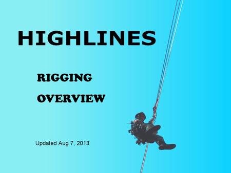 RIGGING OVERVIEW Updated Aug 7, 2013. Highline Overview 1.Highline Types 2.Components of the Kootenay Highline System 3.Highline Setup 4.Operation.