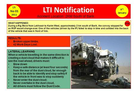 LTI Notification 9 Th January LTI No 01 2011 WHAT HAPPENED: During a Rig Move from Lekhwair to Karim West, approximately 2 km south <strong>of</strong> Barik, the convoy.