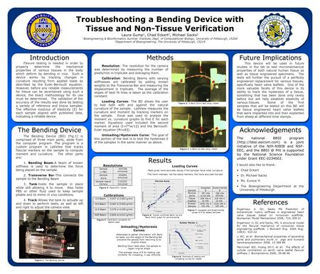 Troubleshooting a Bending Device with Tissue and Non-Tissue Verification Laura Gump 1, Chad Eckert 2, Michael Sacks 2 1 Bioengineering & Bioinformatics.