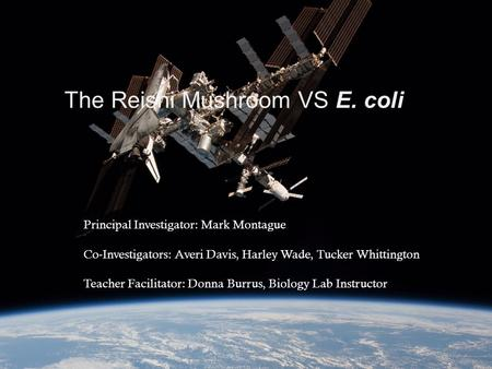 The Reishi Mushroom VS E. coli Principal Investigator: Mark Montague Co-Investigators: Averi Davis, Harley Wade, Tucker Whittington Teacher Facilitator:
