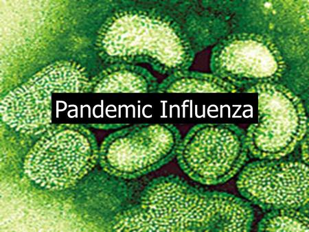Pandemic Influenza. Influenza Outbreaks yearly, usually in winter months Outbreaks yearly, usually in winter months Illness more severe for very young,