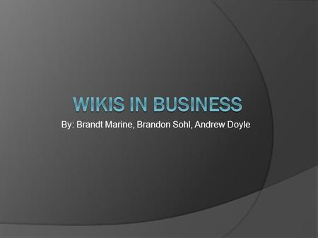 By: Brandt Marine, Brandon Sohl, Andrew Doyle. Outline  Problem Statement and Factors  Background on Wikis  Types of Wikis  Wikis vs. Email  Recommendation.