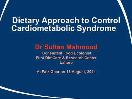Dietary Approach to Control Cardiometabolic Syndrome
