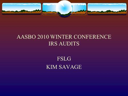 AASBO 2010 WINTER CONFERENCE IRS AUDITS FSLG KIM SAVAGE.