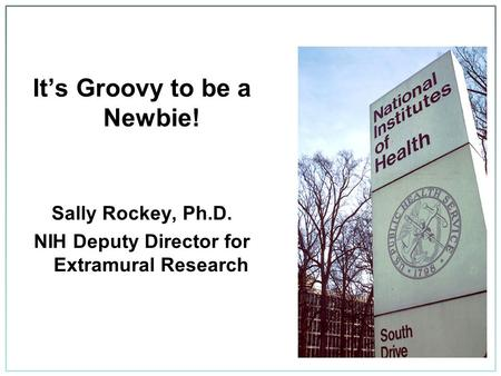 It's Groovy to be a Newbie! Sally Rockey, Ph.D. NIH Deputy Director for Extramural Research.