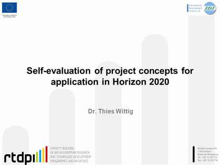 Self-evaluation of project concepts for application in Horizon 2020