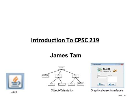 James Tam Introduction To CPSC 219 James Tam Java Object-OrientationGraphical-user interfaces.