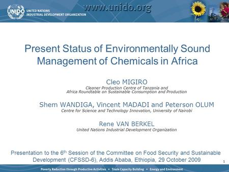1 Present Status of Environmentally Sound Management of Chemicals in Africa Cleo MIGIRO Cleaner Production Centre of Tanzania and Africa Roundtable on.