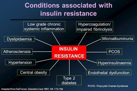 Conditions associated with insulin resistance Adapted from DeFronzo. Diabetes Care 1991; 14: 173-194 Atherosclerosis Central obesity PCOS Hypertension.