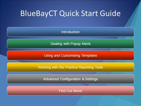BlueBayCT Quick Start Guide Introduction Dealing with Popup Alerts Using and Customising Templates Working with the Practice Reporting Tools Advanced.