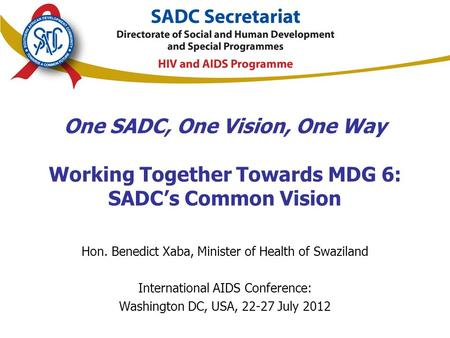 One SADC, One Vision, One Way Working Together Towards MDG 6: SADC's Common Vision Hon. Benedict Xaba, Minister of Health of Swaziland International AIDS.
