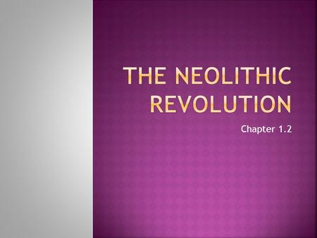 Chapter 1.2.  Describe technological and artistic achievements of the Paleolithic Age  Define and describe the Neolithic Revolution  Give examples.