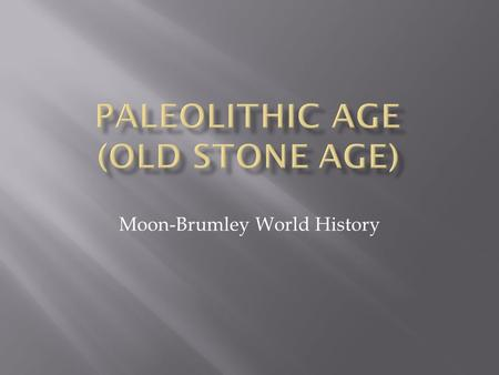 Moon-Brumley World History.  Paleolithic Age - c. 2,500,000 - 10,000 B.C.E.  Period characterized by the use of stone tools.  Paleolithic people were.