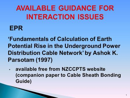EPR 'Fundamentals of Calculation of Earth Potential Rise in the Underground Power Distribution Cable Network' by Ashok K. Parsotam (1997) available free.