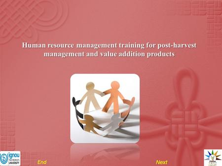 Human resource management training for post-harvest management and value addition products Next End.