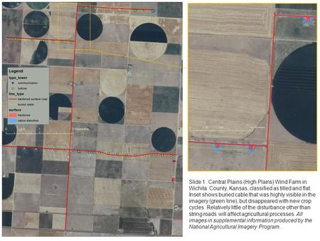 Slide 1. Central Plains (High Plains) Wind Farm in Wichita County, Kansas, classified as tilled and flat. Inset shows buried cable that was highly visible.