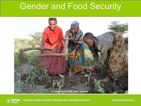 Gender and Food Security © Oxfam photo Geoff, Sayer, Tanzania.