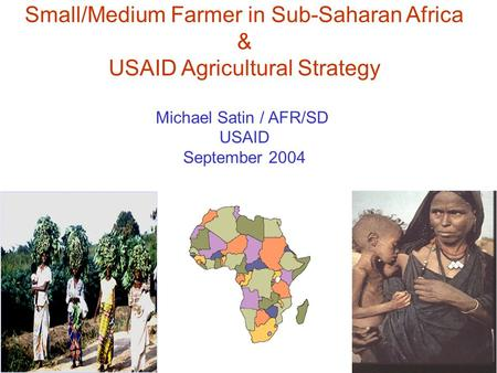 Small/Medium Farmer in Sub-Saharan Africa & USAID Agricultural Strategy Michael Satin / AFR/SD USAID September 2004.