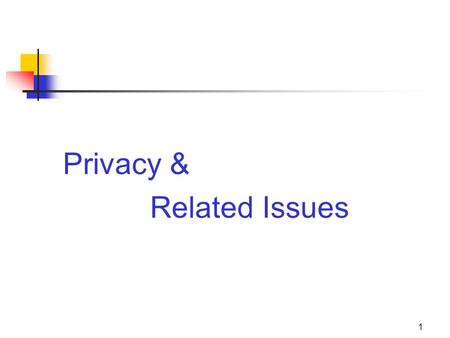 1 Privacy & Related Issues. 2 The 4 Privacy Torts 1.Appropriation 2.Intrusion 3.Disclosure of private facts 4.False light.
