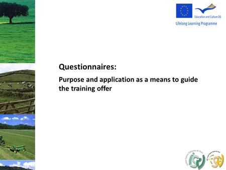 Purpose and application as a means to guide the training offer Questionnaires: