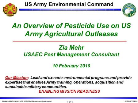 An Overview of Pesticide Use on US Army Agricultural Outleases